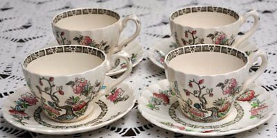 FOUR Vintage Myott Staffordshire Indian Tree Cup & Saucer Sets (8 pieces)