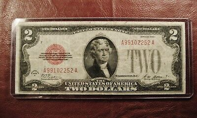 1928A Rare $2 Two Dollar Red Seal Vintage Note Circulated 1928 A *** Ships Free!