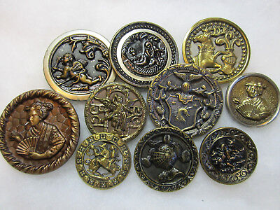 Lot Of Large Antique/ Victorian Era Metal Picture Buttons/ Cupid/ Geisha +