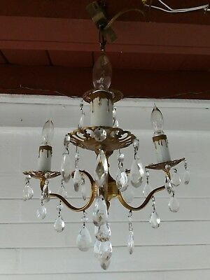 Ornate Vintage 50s Spanish 3 Arm Brass Chandelier Lots of real Crystals