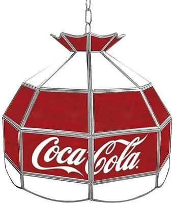 Coca Cola Vintage 16-inch Stained Glass Hanging Lamp