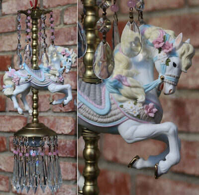 Porcelain Pony Horse Carousel Lamp swag Chandelier Vintage Crystal Bow and Roses