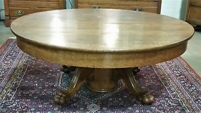 Vintage American Tiger Round Oak Coffee Table with Claw Foot Los Angeles Area