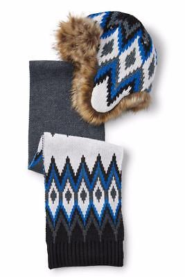LANDS END Little Boys XS/S Chunky Knit Fair Isle Trapper Hat & Scarf Set NWT $49