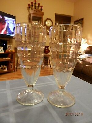 'walgreen's'  Etched Ice Cream Soda Glasses - Thick Glass - Authentic!