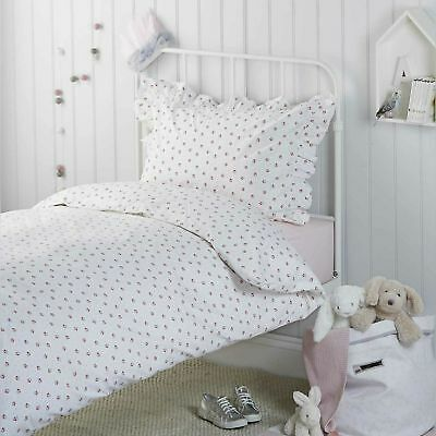New The Little White Company Cherry Bed Linen Cot Bed Duvet Cover and Pillowcase