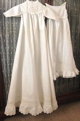 Antique 1890s / Early 1900s Victorian Baby Christening Very Long Gown w/ Slip