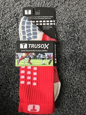 100% Genuine Trusox Mid Calf/Crew Cushion Large See Photo Red And White