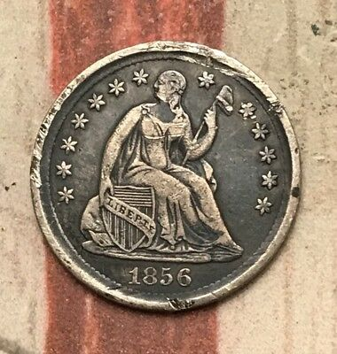 1856 5C Seated Liberty Half Dime 90% Silver Vintage US Coin #MP103 Very Sharp