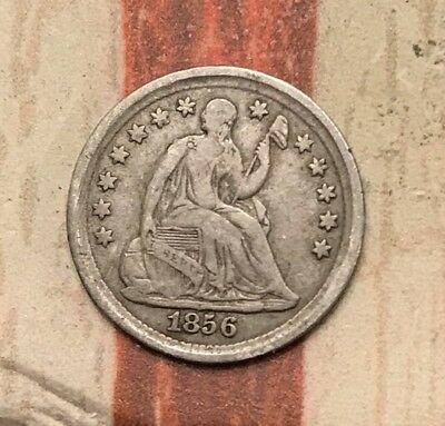 1856 5C Seated Liberty Half Dime 90% Silver US Coin #MP104 Wow Very Sharp