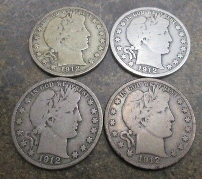 Four 1912-D Barber Silver Half Dollars Good Condition No Reserve
