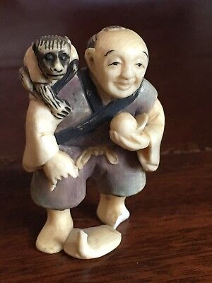 Antique Japanese Netsuke of a Street Performer with a Monkey