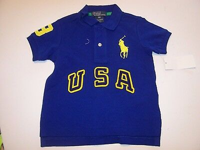 NEW POLO RALPH LAUREN blue BIG PONY USA logo t shirt baby boys 9M 12M 18M 2T