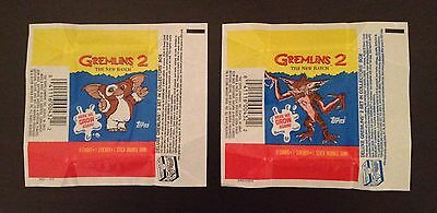 """1990 Topps """"Gremlins 2 - The New Batch"""" - Wax Pack Wrappers - Both Variations"""