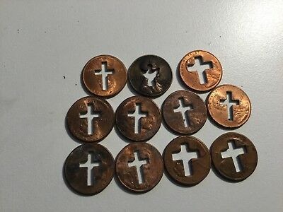 Lincoln Cent Cross Angel Lot  11 coins total