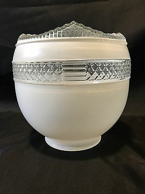 Vintage Art Deco White & Clear Diamond Cut Glass Ceiling Light Shade Globe