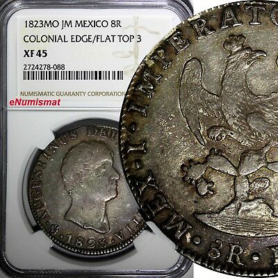Mexico Augustin I Iturbide Silver 1823 MO JM 8 Reales NGC XF45 TOP GRADED KM 310