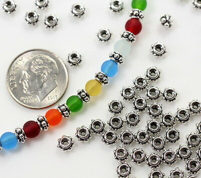 TierraCast Beaded Spacer Beads, 5mm, Antiqued Silver Plated, 20 Pieces, 8212