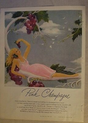 1946 Textron women's Pink Champagne slip lingerie grapes ad