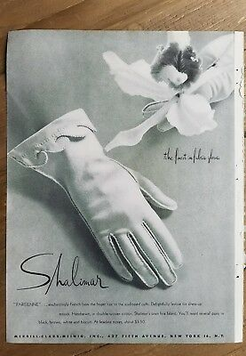 1948 women's Shalimar gloves finest fabric French fingertips Parisienne ad