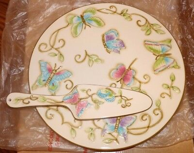 (New) Primavera Franciscan Butterfly Flower 12In Cake Plate & Server Dish