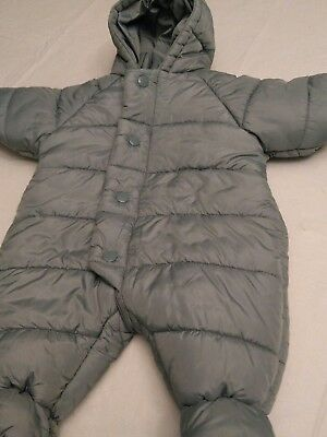 Petit bateau baby long-sleeved outerwear bunting snowsuit blue gray 3 month