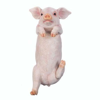 "Climbing 14.5"" Piggy Hanging Statue Figure Figurine Garden Yard Patio Wall Fence"