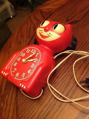 Rare Original Kit Cat Klock C-2 Early Red Edition 1940s Seattle Electric Metal