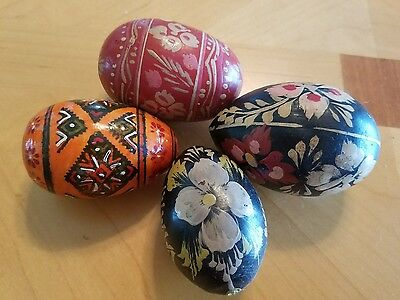 Lot Of 4 Beautiful Vintage Hand Painted Wooden Polish Eggs