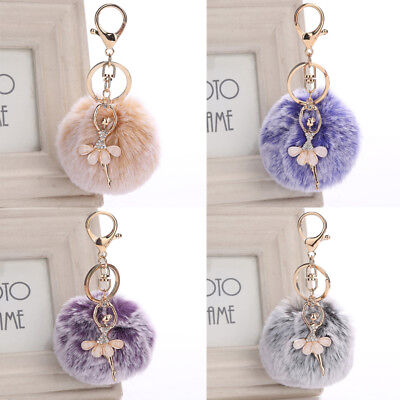 Fluffy Angel Ballet Dancing Girl Keychain Faux Rabbit Fur Women Pompom Keyring