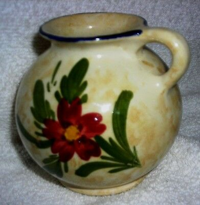 Antique -Vtg Made In Holland Gouda Pottery Huizen Floral Design Pitcher wo/Spout