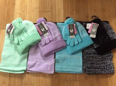 New girls 4-14 hat, gloves, infinity scarf marled choice of color Berkshire