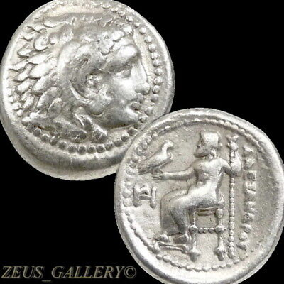 ALEXANDER the Great Rare LIFETIME ISSUE Macedon Ancient Greek Silver Drachm Coin