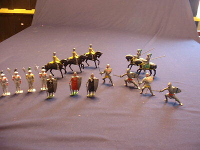 Lot Of 16 Vintage Hand Painted Cast Lead Britains Knights Soldiers Etc.