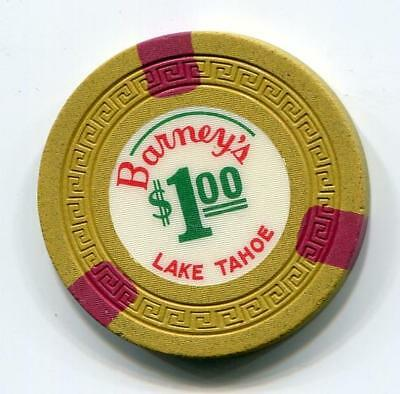Tahoe State Line scarce BARNEY'S $1 Casino Chip 1963 small key CR#N4959