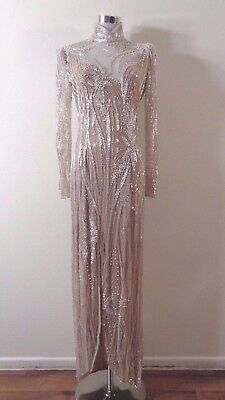 80s BOB MACKIE BOUTIQUE NUDE SILK WHITE & SILVER BEADED FORMAL WIGGLE DRESS 8