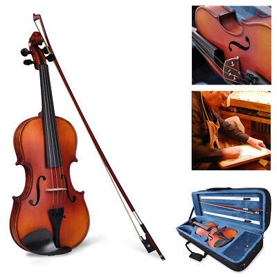 Vif 4/4 Full Size Ebony Hand Made Student Violin Fiddle w/ Case Bow Rosin Set