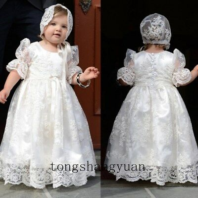 WHITE IVORY CHRISTENING Dresses Lace Long Vintage Baptism Gowns + ...