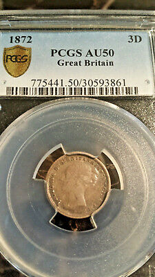 1872 Great Britain SILVER 3 Pence 3P 3D PCGS AU50 Better Date KM#730 DIE CLASHES