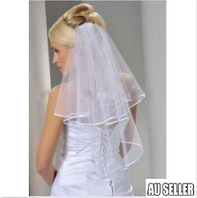 Women Bridal Wedding 2-Tier Veil With Satin Edge Comb Hen's Night White 2018