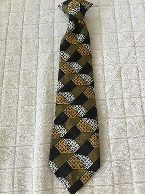 Children Kids Pre Tied Tie Boys Necktie Michael James Clip Black White Gold