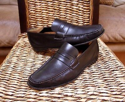 Salvatore Ferragamo Mens Black Leather Moccasin Loafers Size 10 E (US)