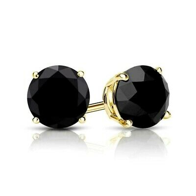 4Ct  Created Black Diamond Solitaire Earrings Solid 14K Yellow Gold Basket Studs