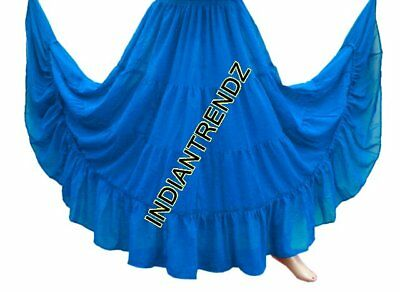Dodger Blue Chiffon 4 Tiered Gypsy Skirt Belly Dance Tribal Costume Panel Jupe