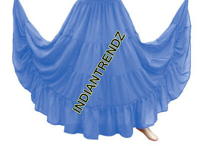 Steal Blue Chiffon 4 Tiered Gypsy Skirt Belly Dance Tribal Costume Panel Jupe
