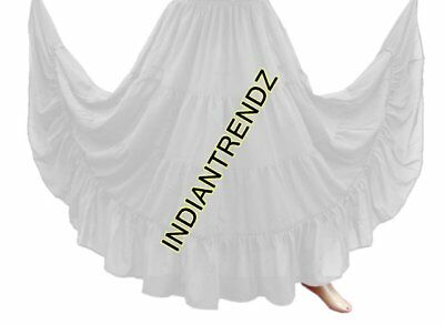 White Chiffon 4 Tiered Gypsy Skirt Belly Dance Tribal Costume Club Panel Jupe