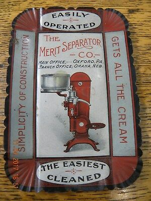 """Antique tin lithographed advertising tip tray for the """"Merit Separator Co."""""""