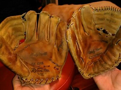 Lot Of 2 Vintage Mickey Mantle Baseball Gloves Xfg20,gc1308