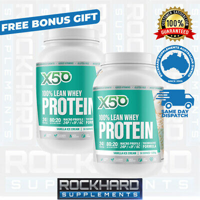 Twin Pack X50 100% Lean Whey Protein Powder 60 Serves WPI WPC Isolate Tribeca