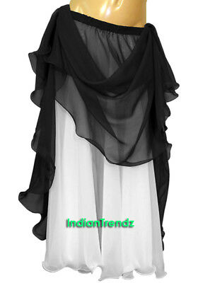 Black & White 2 Color 2 Layer Reversible Skirt Full Circle Belly Dance Double